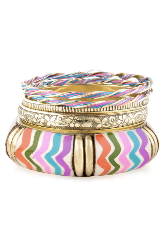 Zebra-cadabra Gold and Multi Bangle Set
