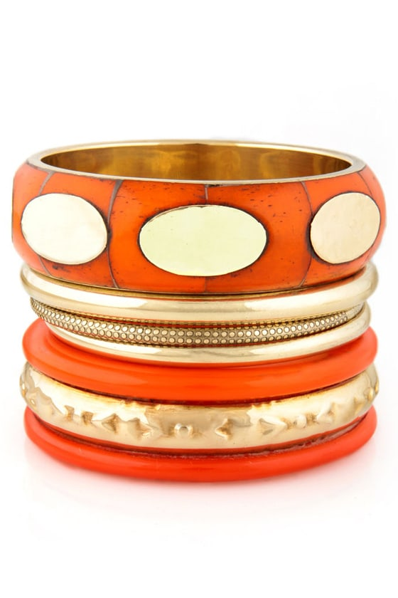 Press Play Orange Bangle Set