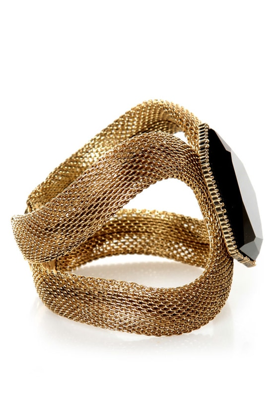 The Sorceress's Stone Gold Cuff Bracelet