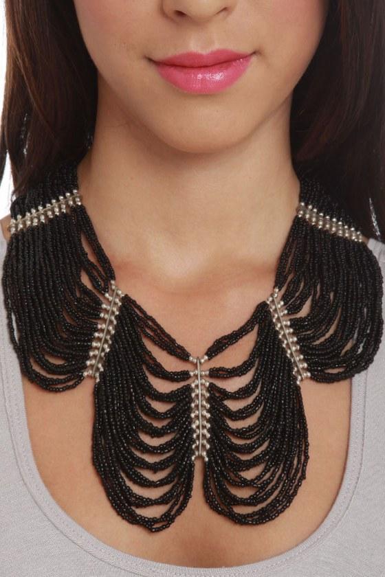 Regalia Black Beaded Necklace