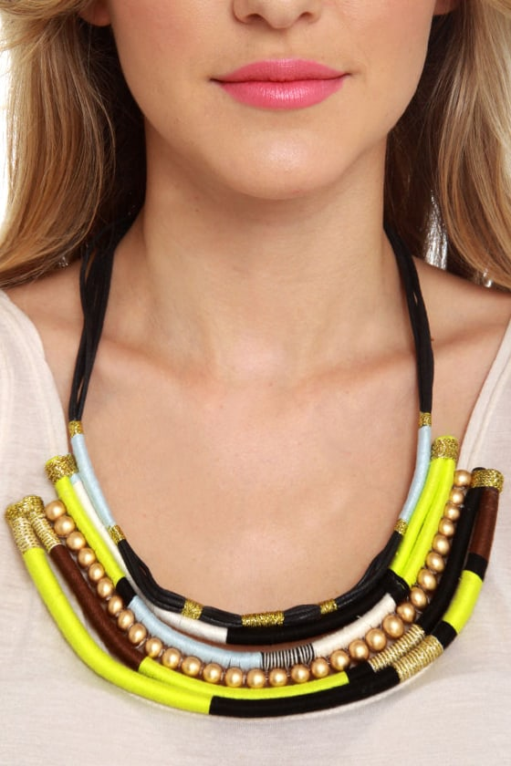 Thready or Knot Lime Green Statement Necklace