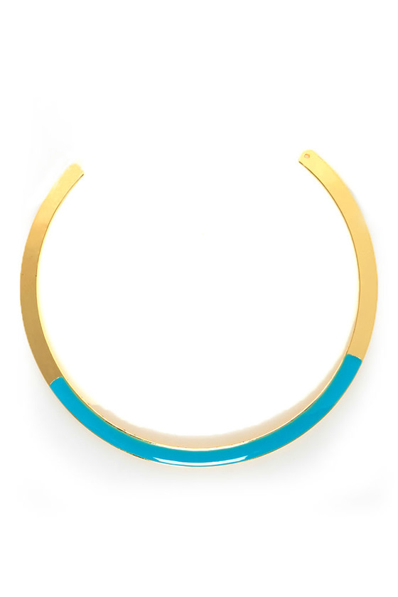 Infinity Pool Gold and Turquoise Collar Necklace