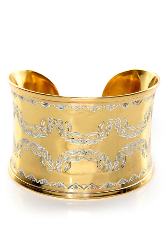 Obey Versailles Engraved Brass Cuff at Lulus.com!