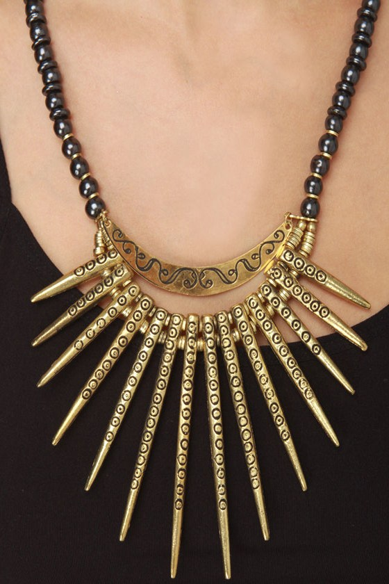 Obey Sahara Black and Gold Necklace