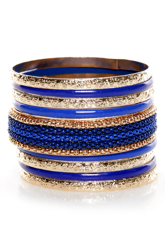 Color Code Gold and Blue Bangle Set