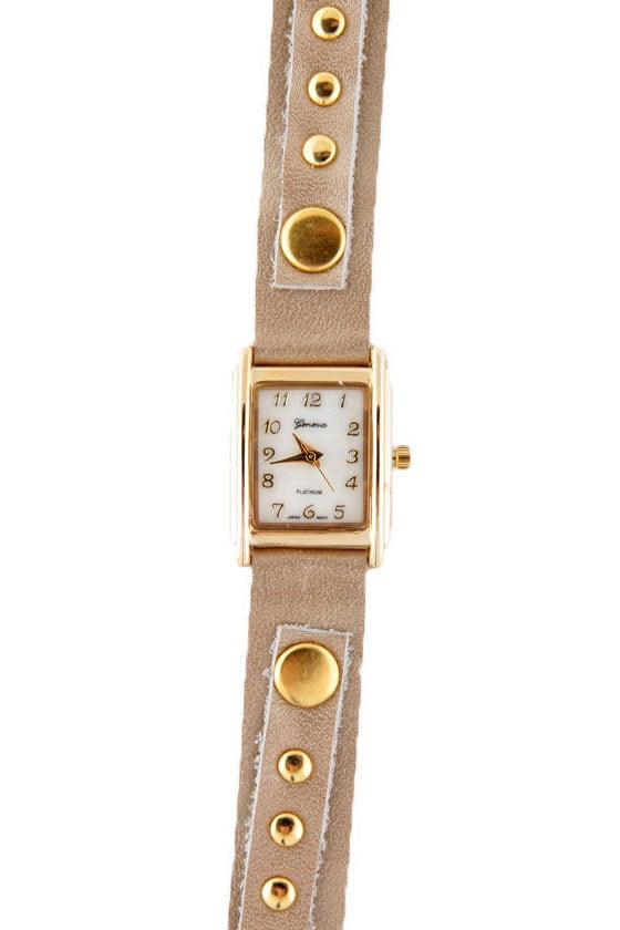 Times Square Wraparound Beige Leather Watch