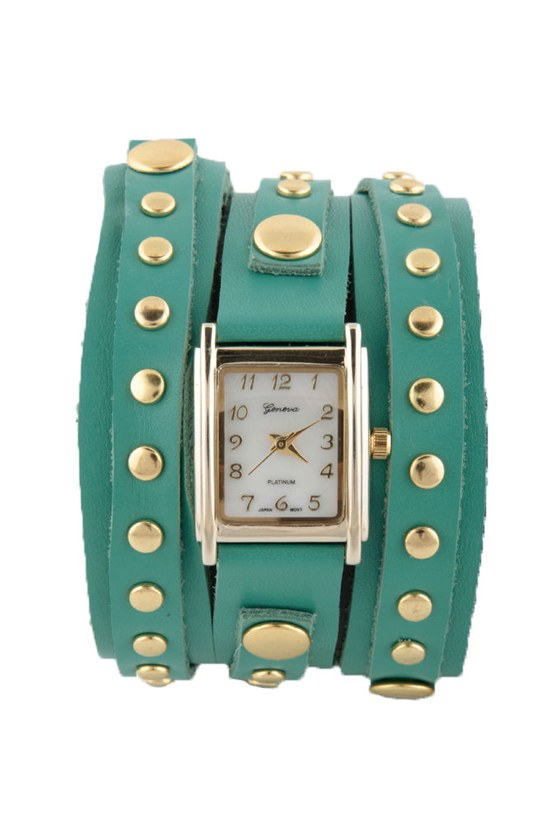 Times Square Wraparound Teal Leather Watch at Lulus.com!