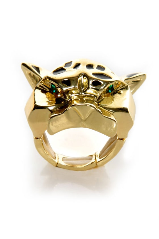 Thundercat Gold Leopard Stretch Ring at Lulus.com!