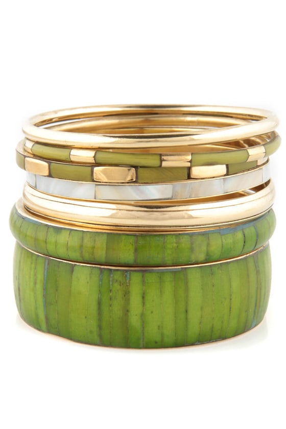Bamboo Forest Green and Gold Bangle Set
