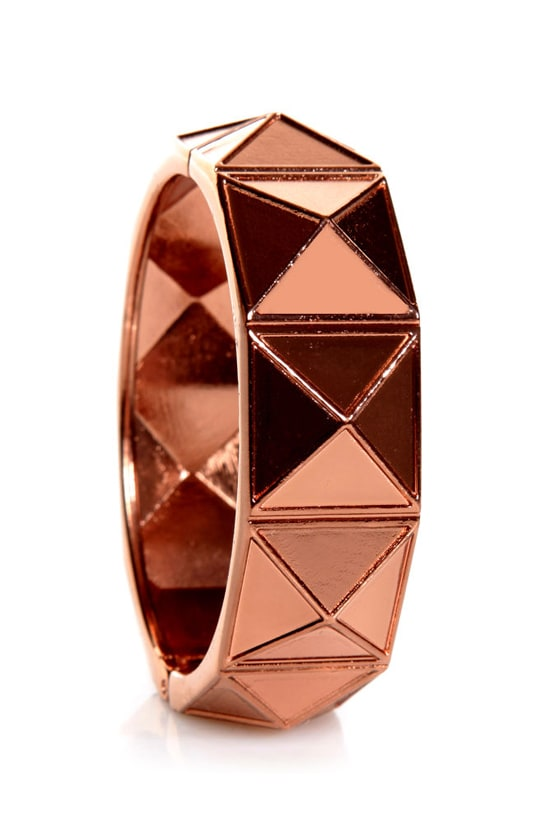 On the Facet Track Rose Gold Cuff Bracelet