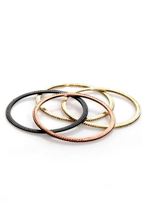 Kiss Kiss Bangle Bangle Gold Bangle Set at Lulus.com!