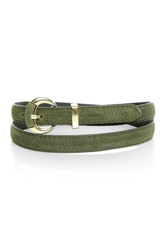 Crescent Olive Green Leather Belt