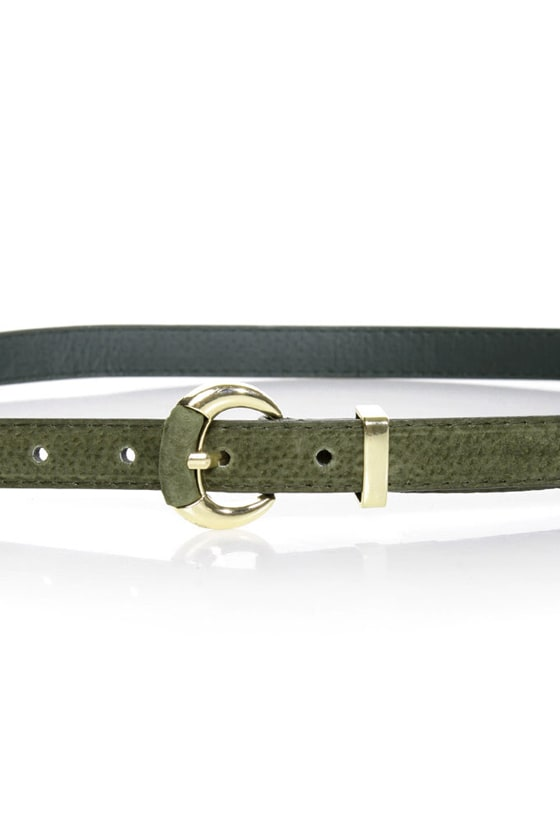 Crescent Olive Green Leather Belt