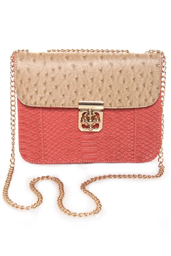 Antoinette Beige and Coral Purse