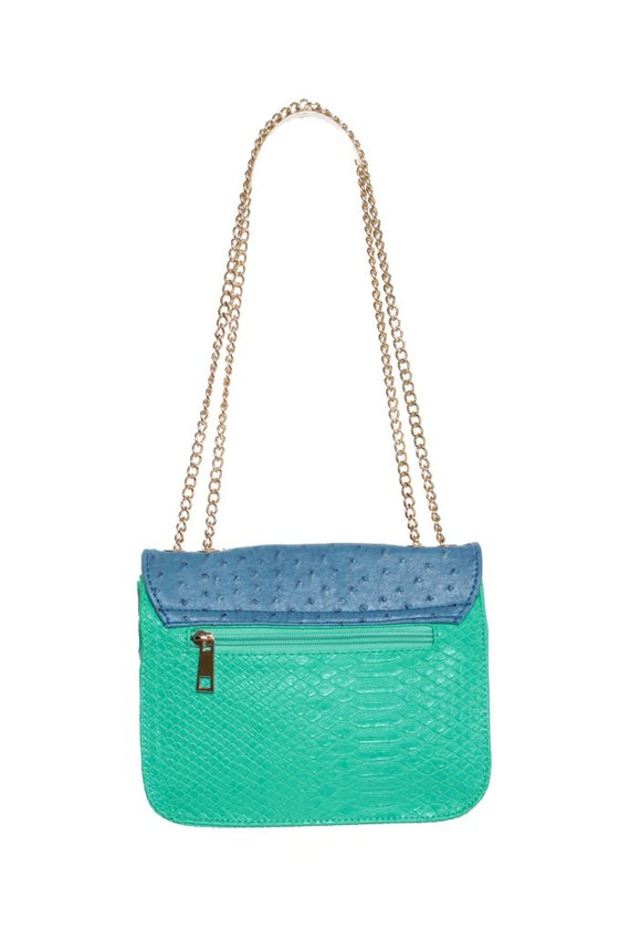 Antoinette Blue and Mint Purse