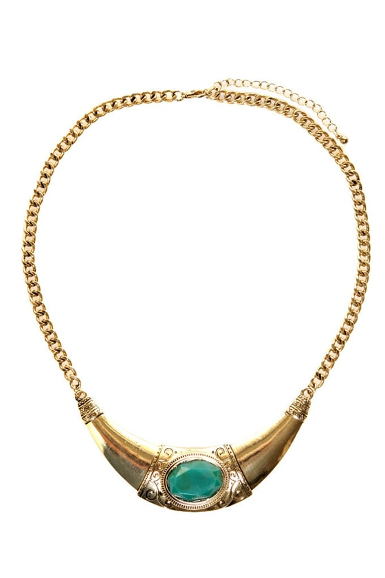 Rule the Day Gold Collar Necklace at Lulus.com!