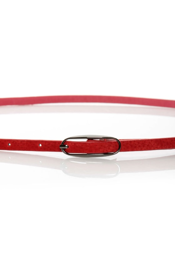Agreement Red Skinny Belt at Lulus.com!