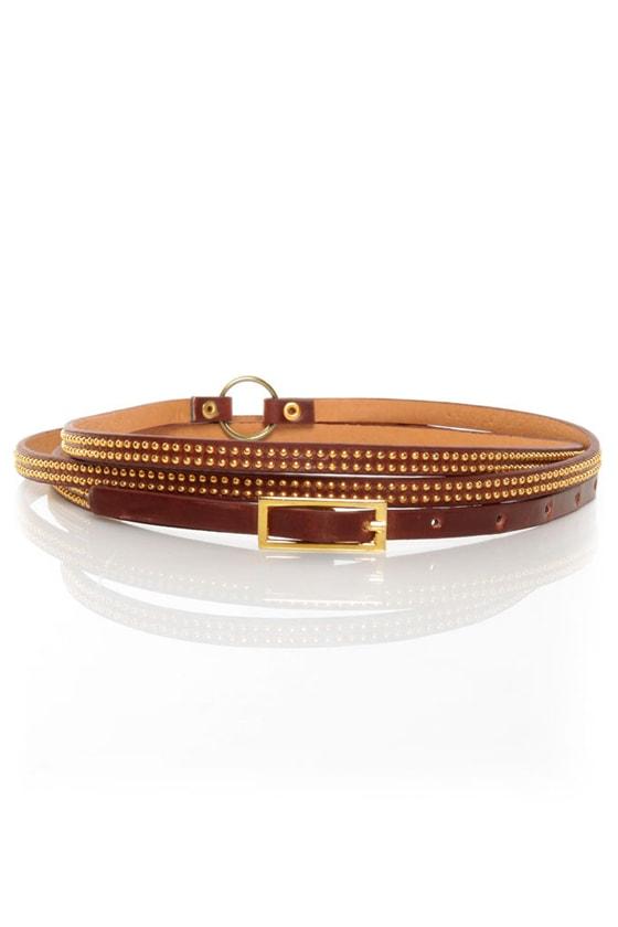 Premise Double Wrap Mahogany Brown Skinny Belt
