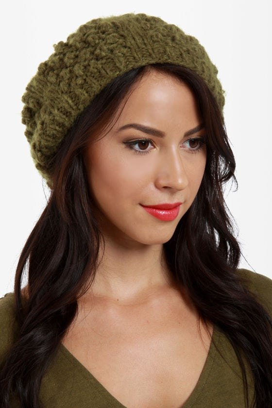 San Diego Hat Co. Woodlands Green Pom Beret
