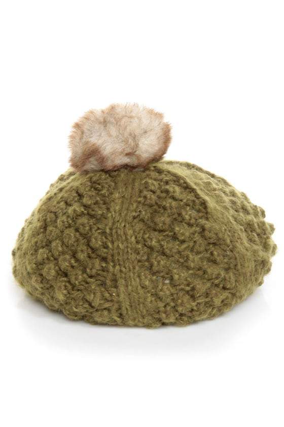 San Diego Hat Co. Woodlands Green Pom Beret at Lulus.com!