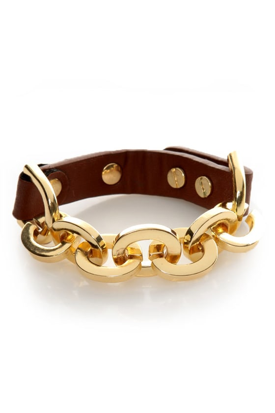 Shira Melody Alexandra Brown Leather Bracelet at Lulus.com!