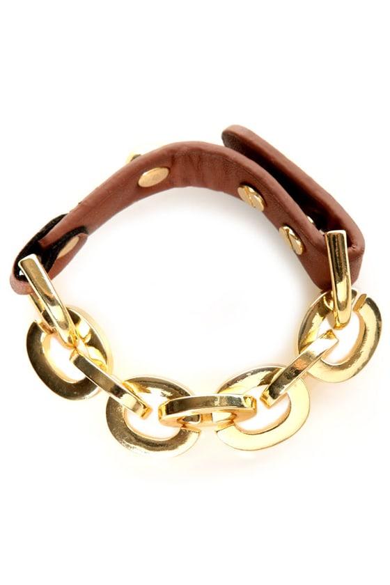 Shira Melody Alexandra Brown Leather Bracelet