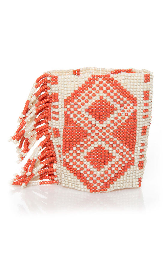 Happy Solstice Ivory and Coral Beaded Cuff