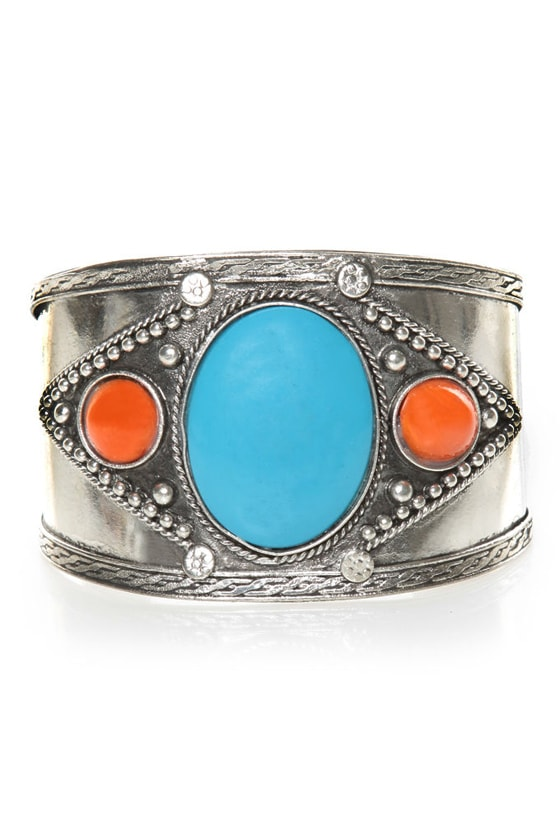Rock Collection Silver Cuff Bracelet