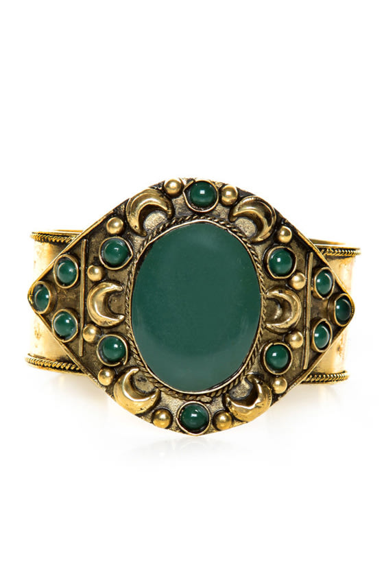 Gypsy Lover Green and Gold Cuff Bracelet at Lulus.com!