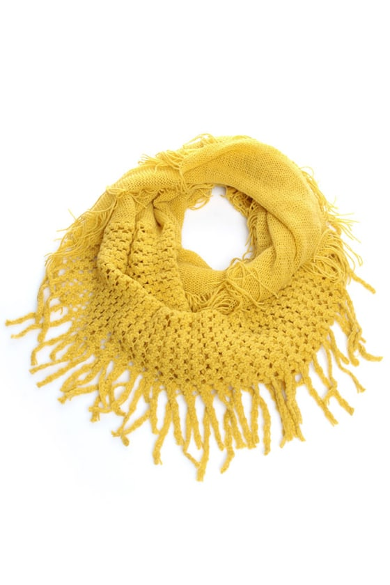 Rock Thready Mustard Fringe Infinity Scarf