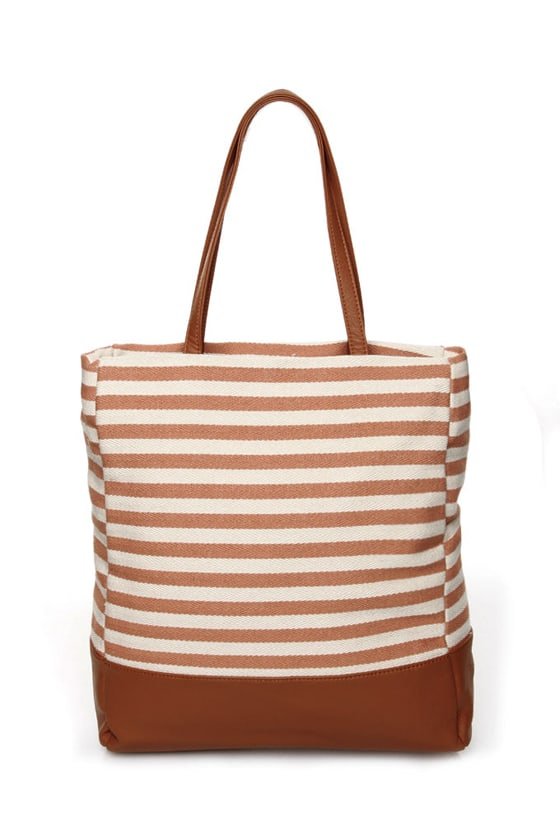 Beach Bum Brown Striped Canvas Tote