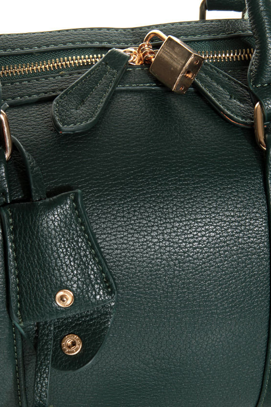 On Lock Dark Green Handbag at Lulus.com!