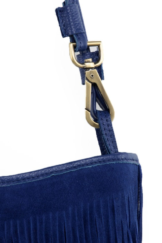 Moped Chronicles Fringe Blue Leather Purse