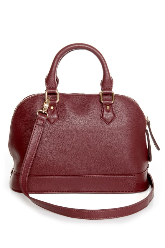 Cute Burgundy Satchel - Burgundy Purse - Vegan Purse - $48.00