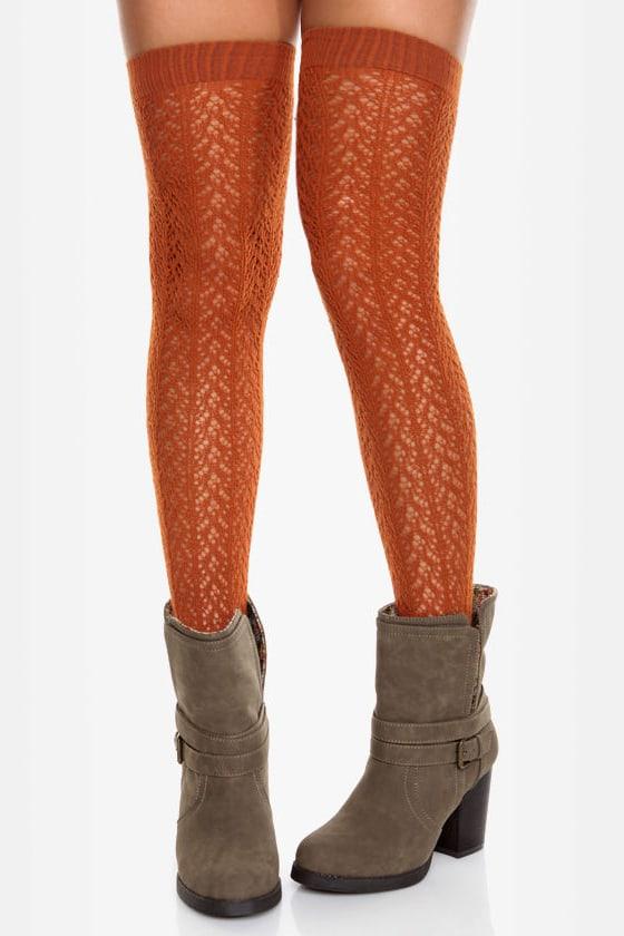 a33e96807b3 Cute Knee High Socks - Burnt Orange Socks - Crocheted Socks -  19.00