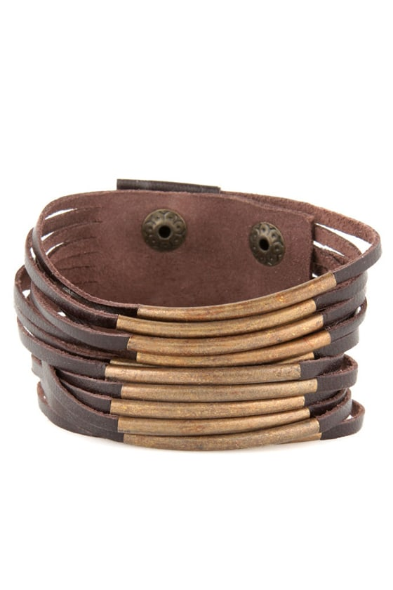 Zad Don't Cage Me In Brown Leather Bracelet