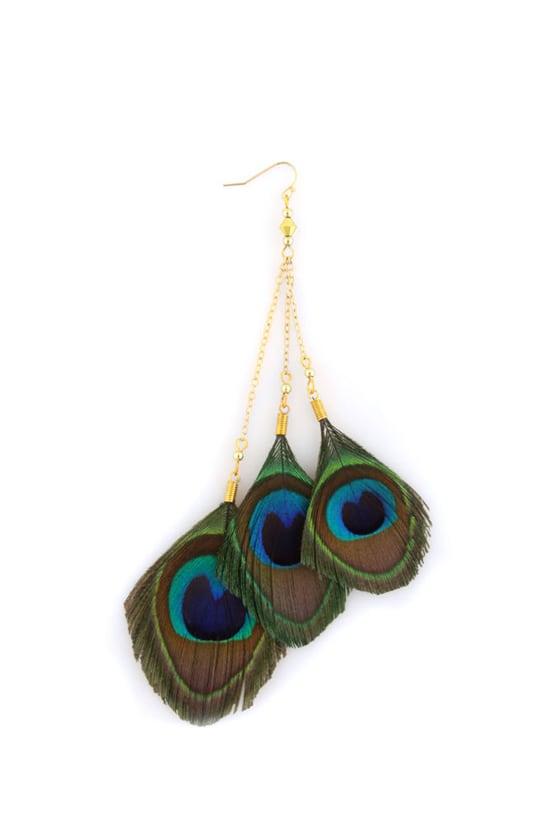 Zad Krauncha Peacock Feather Earrings
