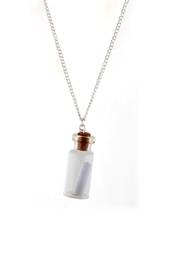 Zad Message in a Bottle Silver Necklace