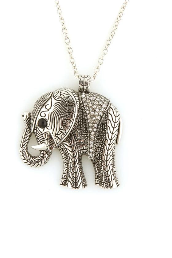 Zad Silver Elephant Necklace