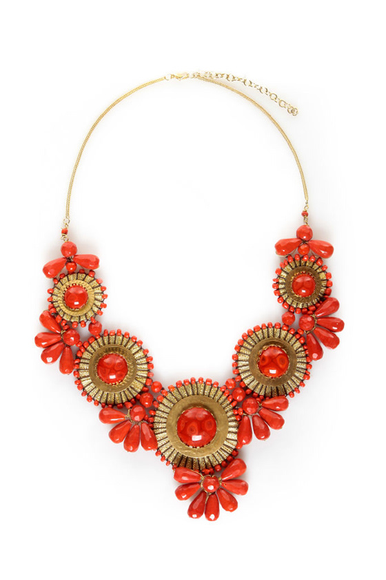 Zad Neptune\'s Treasure Coral Red Necklace