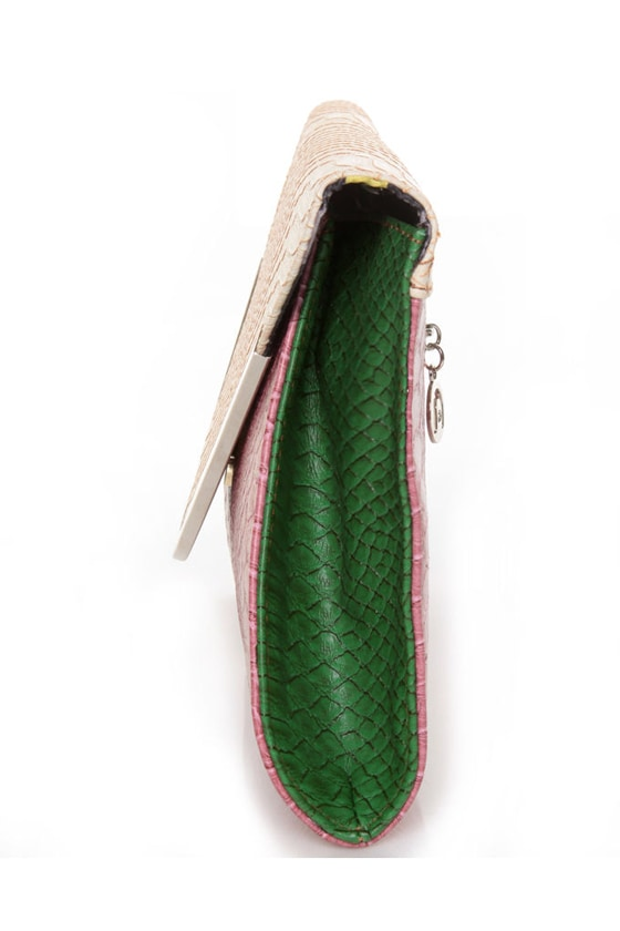 For Goodness\\\' Snake Beige and Pink Snakeskin Clutch