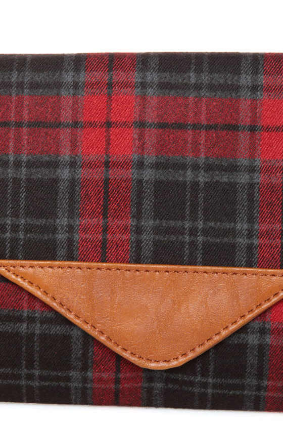 Plaid It All Up Red Plaid Clutch