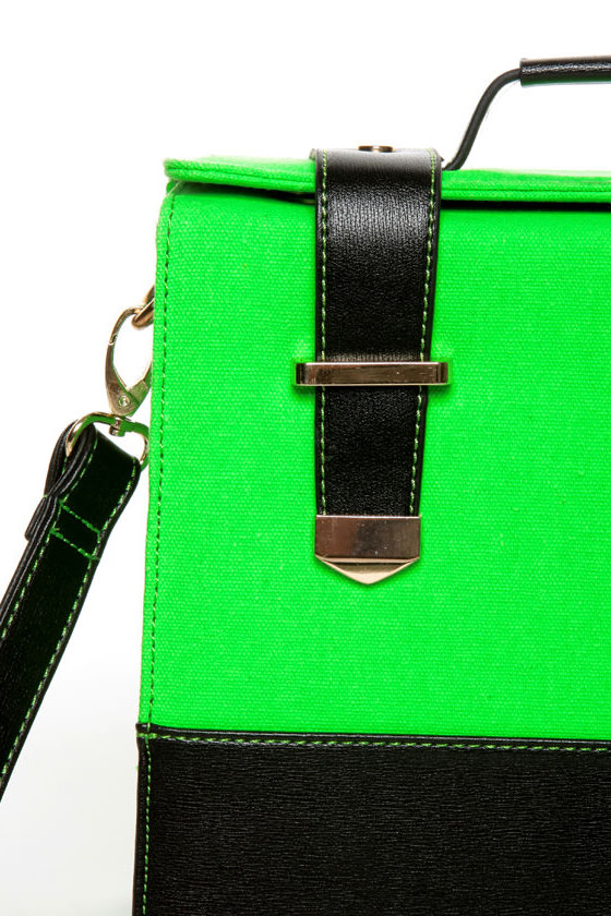 Steady As She Glows Neon Green and Black Purse at Lulus.com!
