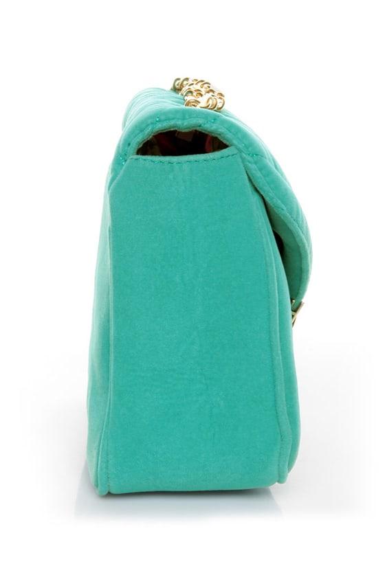 You're Making Me Plush Teal Handbag