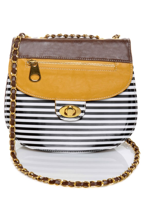 Material Girl Golden Yellow and Brown Striped Purse