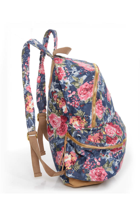 Right Pack At You Blue Floral Print Backpack