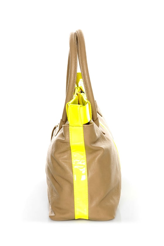 Bright Club Taupe and Neon Yellow Tote