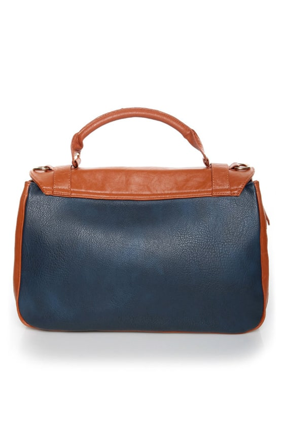 Time After Time Navy Blue and Tan Handbag