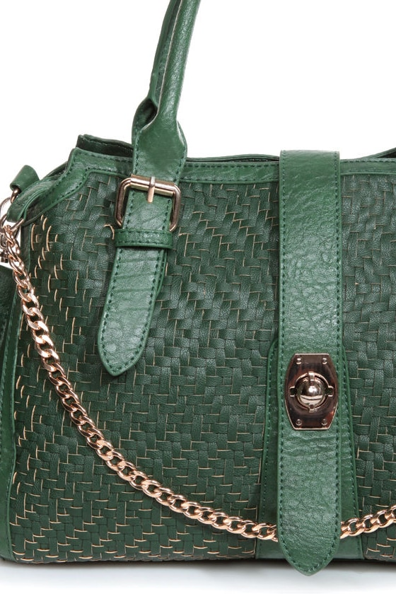 Baske-Treats Woven Green Handbag