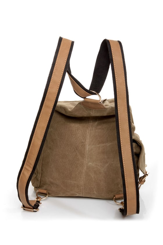 Burt Back-a-pack Brown Canvas Backpack at Lulus.com!